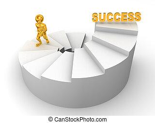 uomini, scale., successo, 3d