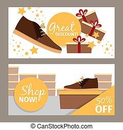 uomini, scarpa, inverno, negozio, volantini