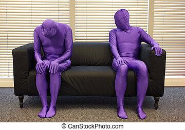 uomini, seduta, depression., anonimo, divano, ufficio