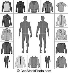 uomini, set, abbigliamento