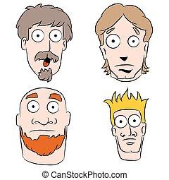 uomini, set, cartone animato, abbicare