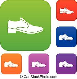 uomini, set, scarpa, collezione