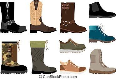 uomini, set, scarpe, icone