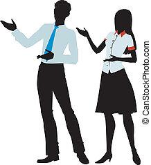 uomini, silhouette, donna, presente