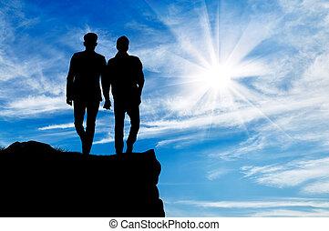 uomini, silhouette, due, gaio