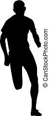 uomini, silhouette, fondo, sprint, bianco, corridori