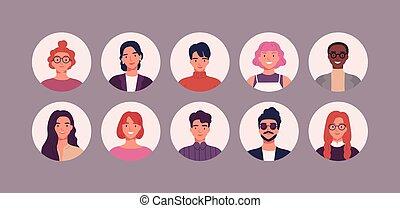 uomini, sorridente, caratteri, differente, utente, colletion...