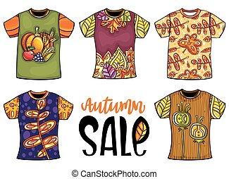 uomini, t-shirts, set, autunno, mascherine, donna, design.