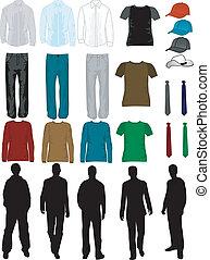 uomini, vestire, collezione