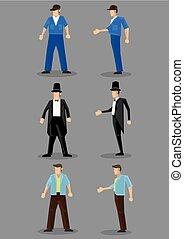 uomini, vettore, carattere, moda, illustrazione