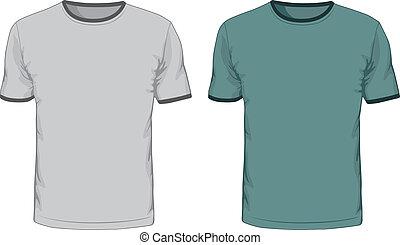 uomini, vettore, disegno, camicie, template., t