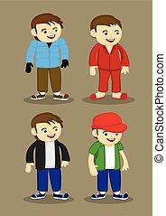 uomini, vettore, moda, illustrazione