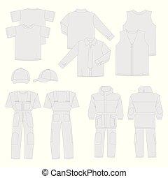 uomini, views), lavoro, collezione, indietro, (front, vestiti