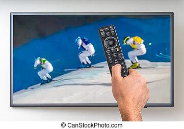 uomo, è, osservare, inverno, sciare, su, tv