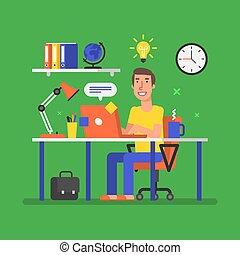 uomo, è, sedendo tavola, con, computer, e, came, su, con, un, idea