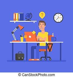 uomo, è, sedendo tavola, con, computer, e, xx, in, problema