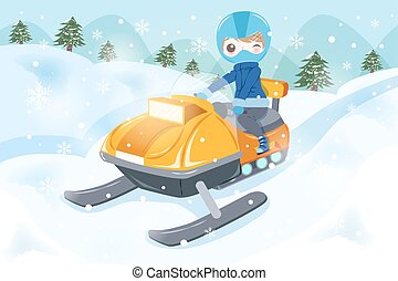 uomo, è, snowmobiling
