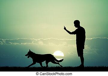 uomo, addestramento, cane, a, tramonto