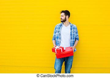 uomo, adulto, regalo, rosso