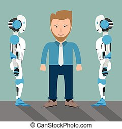 uomo affari 2, cartone animato, robot