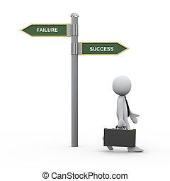 uomo affari, 3d, strada, successo, segno