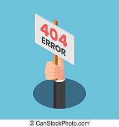 uomo affari, 404, mano, venire, isometrico, buco, errore, segno, fuori