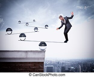 uomo affari, abilità, equilibrio