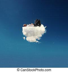uomo affari accentuato, rilassante, su, uno, morbido, nuvola