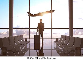uomo affari, aeroporto