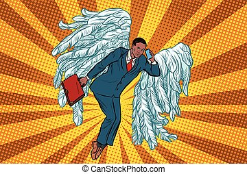 uomo affari, affari, angelo, africano
