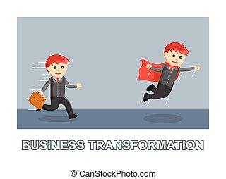 uomo affari, affari, trasformazione, foto, testo, stile