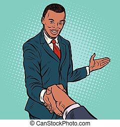 uomo affari, africano, stringere mano