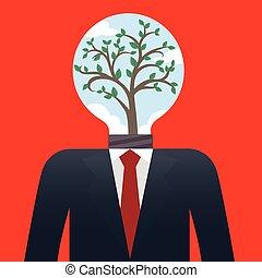 uomo affari, albero, bulbo