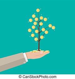 uomo affari, albero., presa a terra, moneta, mano
