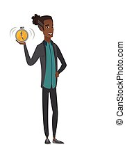 uomo affari, allarme, presa a terra, clock., africano-americano