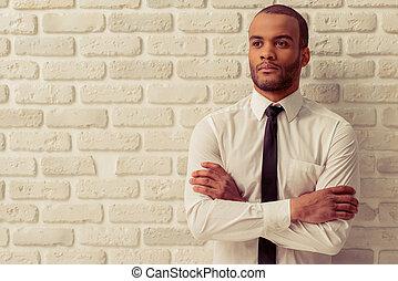 uomo affari, americano, afro