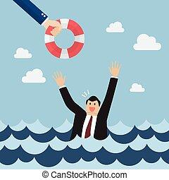 uomo affari, annegamento, grida, aiuto