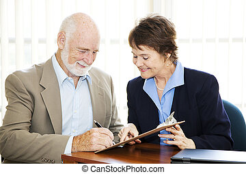 uomo affari, anziano, firma