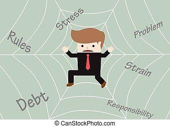 uomo affari, appiccicato, web ragno