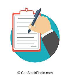 uomo affari, appunti, presa a terra, scrittura