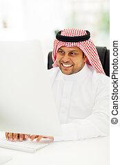 uomo affari, arabo, computer, lavorativo