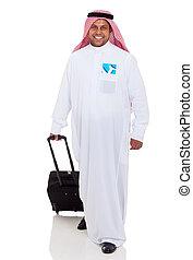 uomo affari, arabo, viaggiante