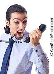 uomo affari, arrabbiato, telefono