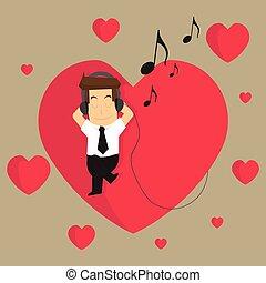 uomo affari, ascolto, a, il, musica, di, amore, in, cosa, essi, fare
