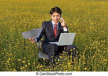 uomo affari, asiatico, lavorativo