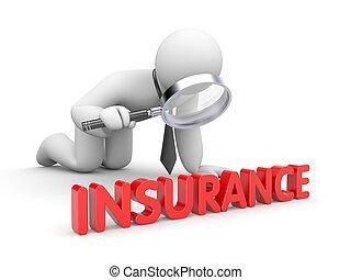 uomo affari, assicurazione, ispezionato