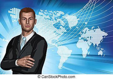 uomo affari, astratto, mappa mondo, fondo