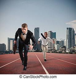 uomo affari, atti, come, uno, runner., concorrenza, e, sfida, in, concetto affari