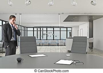 uomo affari, attraente, ufficio