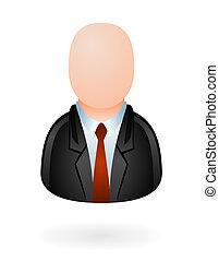 uomo affari, avatar, lucido